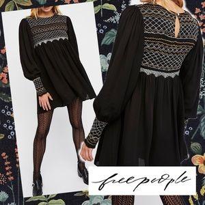 🌿Free People late night picnic smocked mini dress